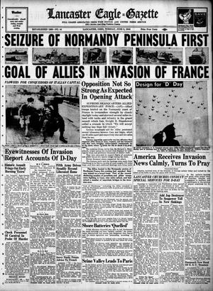 The front page of the Lancaster Eagle-Gazette on June 6, 1944. The paper put out an extra edition to get out the news of the D-Day invasion.