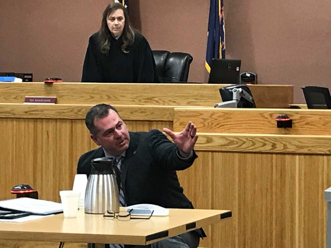 Representative Mike Mueller described how he fought with Albert Smith on Nov. 28, 2018 while working as a deputy in Livingston County.