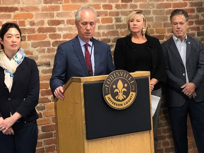 Mayor Greg Fischer announces initiative to increase technology jobs in Louisville , Ky. Monday June 3, 2019.