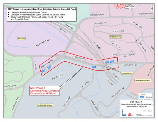 A map of the portion of Lexington Road that is expected to be closed from June 2019 to September 2019.