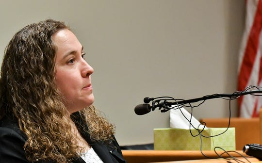 Dr. Jessica Neuroth testifies last year, June 5, 2018, during a preliminary hearing in East Lansing 54B District Court concerning William Strampel, the former dean at the College of Osteopathic Medicine at Michigan State University. Neuroth testfied Monday as part of a jury trial that Strampel groped her during a scholarship dinner.