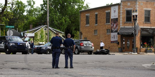 Eastbound Michigan Avenue was closed at Clemens Avenue on Monday, June 3 because of a crash involving a motorcycle.