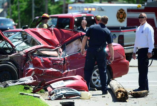 Two cars were involved in a crash that occurred shortly after noon on Park Avenue West on Monday, June 3, 2019.