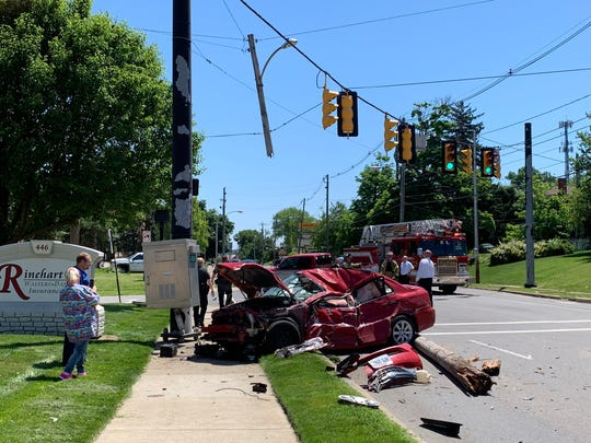 Two cars were involved in a crash at the intersection of Baldwin Avenue and Park Avenue West shortly after noon Monday.