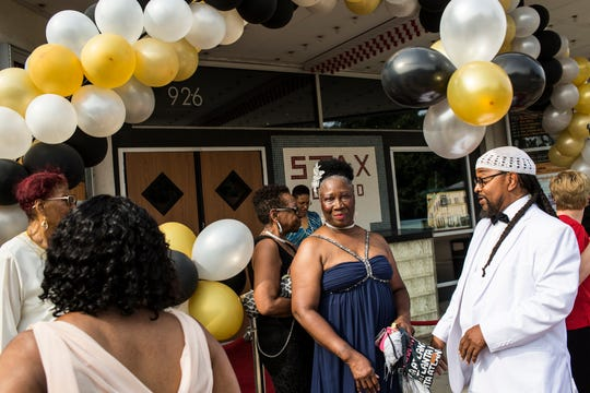 Shelly Shorter, center, poses for a picture before heading inside for Mayor Lee Harris' Senior Prom held at the Stax Museum of American Soul Music on Monday, June 03, 2019. Shelby County invited anyone over the age of 60 to experience the free prom and provided food, drinks and prizes.