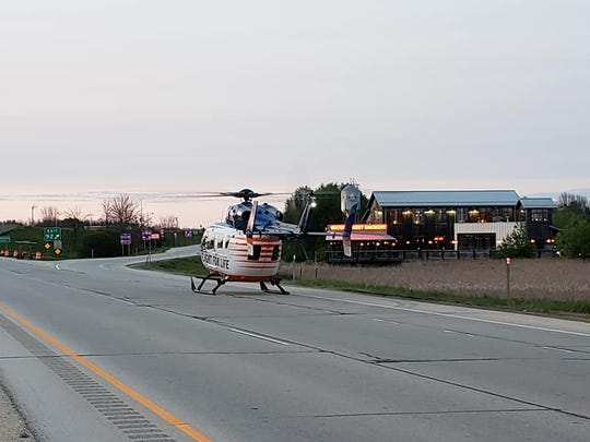 Flight For Life transports a 23-year-old Sheboygan woman to the hospital after she apparently jumped out of a moving car on I-43 just south of Highway 60 in the town of Grafton.