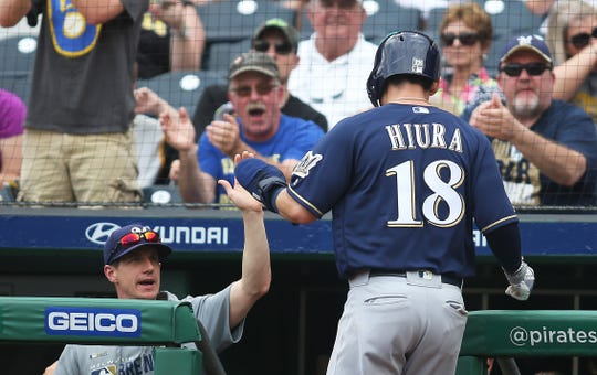 Jun 2, 2019; Pittsburgh, PA, USA;  Milwaukee Brewers manager Craig Counsell (left) celebrates with second baseman Keston Hiura (18) after scoring a run against the Pittsburgh Pirates during the fifth inning at PNC Park. Mandatory Credit: Charles LeClaire-USA TODAY Sports