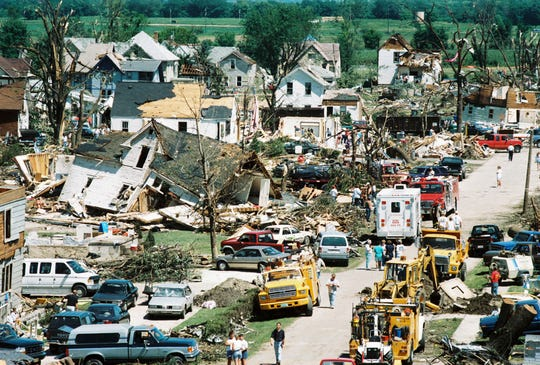 The next F5 tornado wouldn't occur in Wisconsin until Oakfield on July 18, 1996.   A view of the Oakfield tornado destruction in 1996. Sixty-six buildings were destroyed and 130 others were damaged. It caused $39.5 million in damages.