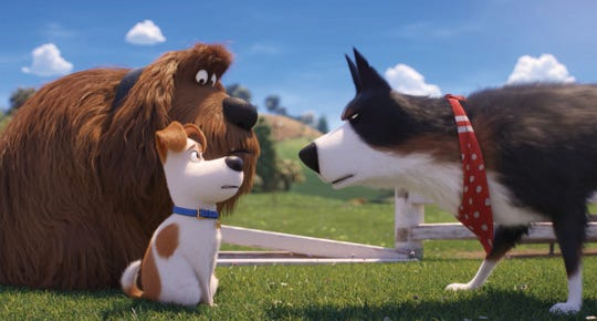 "Among the movies showing on Thursday at Movies 14: Duke (from left, voiced by Eric Stonestreet), Max (Patton Oswalt) and Rooster (Harrison Ford) square off in ""The Secret Life of Pets 2."""