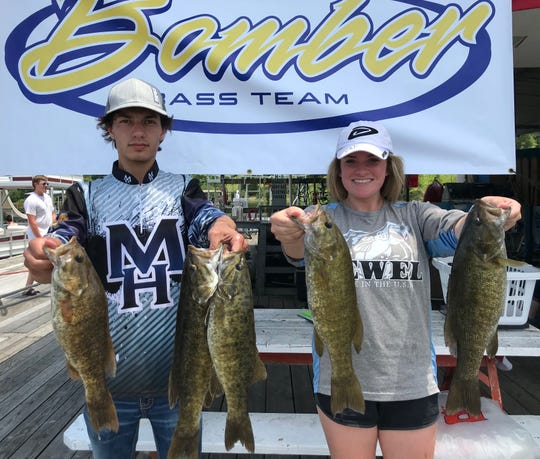 Mountain Home's Ryan Strode and Courtney Barron placed second in the Twin Lakes High School Bass Tournament on Bull Shoals Lake.