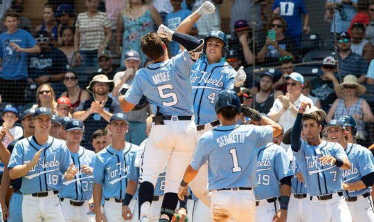 North Carolina's Ashton McGee (5) and Brandon Martorano (4) celebrate after a home run during the ACC college baseball championship game against Georgia Tech in Durham, N.C., Sunday, May 26, 2019. North Carolina beat Georgia Tech 10-2.