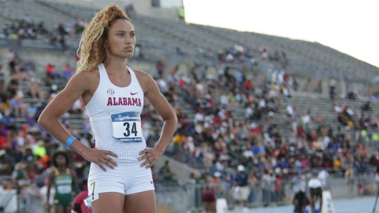 Alabama track and field athlete Katie Funcheon prepares to compete at the 2019 NCAA East Preliminary in Jacksonville, Florida.