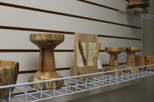 Hand-turned pieces created by local woodworker Ralph Sharpless are on display and available for purchase at the Pike Road Arts Center. An Open House for the new Center will be held from 10 a.m. to 2 p.m. on June 8.