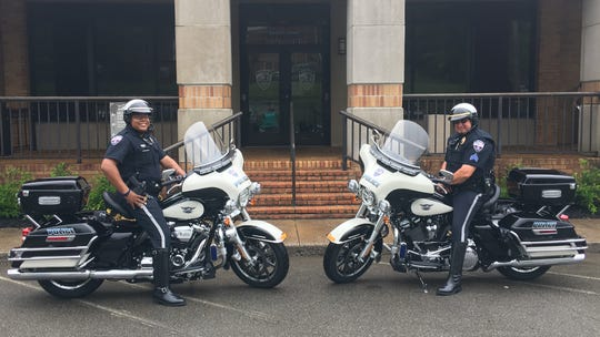 Officer Donta Daniel (left) and Sgt. Jerry Sumerour (right) on the City of Dickson Police Department's new motorcycles.