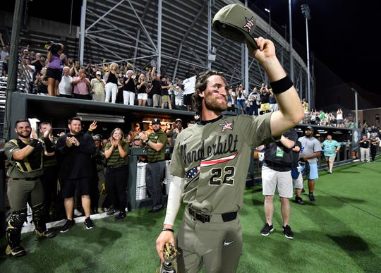 Vanderbilt first baseman Julian Infante (22) takes a bow after the team beat Indiana State 12-1 in the Nashville Regional. Infante was named regional MVP.