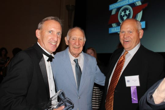 Belmont University men's basketball coach Rick Byrd, left, with his father, Ben Byrd, center, and UT Athletics Director Phil Fulmer in 2013 at the Tennessee Sports Hall of Fame inductions, where the younger Byrd was inducted.
