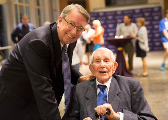 Dr. L. Randolph Lowry, president of Lipscomb University, with his father, Lloyd Lowry Sr.