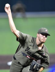 Vanderbilt pitcher Mason Hickman (44) throws in the first inning against Indiana State during the NCAA Division I Baseball Regionals at Hawkins Field Sunday, June 2, 2019, in Nashville, Tenn.