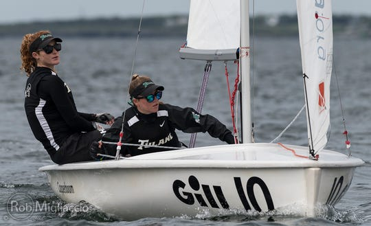 Amelia Schofield (right) sails with her teammate for Tulane University. Schofield, who started sailing at the Naples Community Sailing Center, recently competed  with Tulane in the women's college national championships.