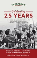 Carrabba's in North Naples will celebrate its 25th anniversary Thursday, June 6, with live music, raffles, wine samples and signed copies of Johnny Carrabba's cook books.