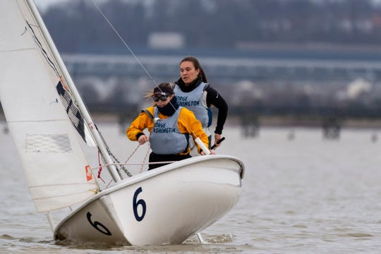 Riley Legault (back) sails with her teammate at George Washington University. Legault, who is from Bonita Springs, recently helped the Colonials finish fourth at the women's college sailing national championship.