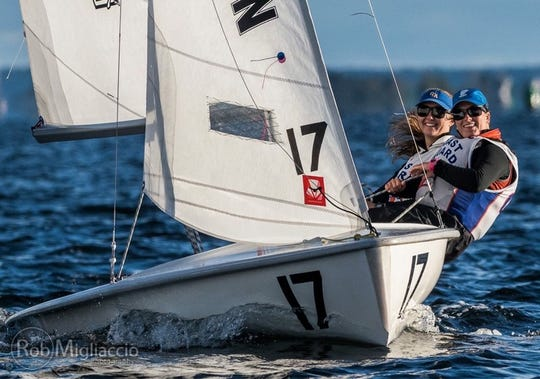 Madelynn Widmeier (back) sails with her teammate from the U.S. Coast Guard Academy. Widmeier, who sailed with the Naples Community Sailing Center in middle school, recently competed in the women's college national championships with the Coast Guard Academy.