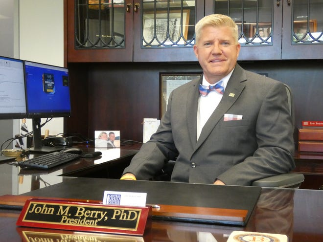 John Berry, Central Ohio Technical College President, poses for a photograph in his office on Monday, June 3, 2019.