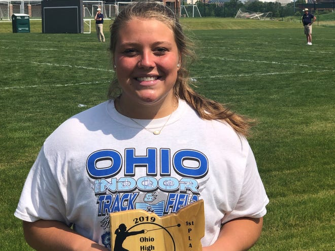 Granville senior Addison Hoover won the title during the Ohio State Hammer Championships on Sunday at Ohio State's Jesse Owens Memorial Stadium.