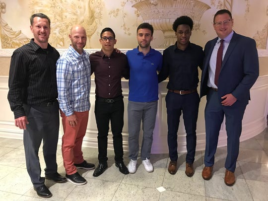 SENIOR BANQUET: Two members from the Clifton High School Class of 2019 and the boys soccer team were awarded the Clifton High School Fernando Rossi Scholarships recently at the senior banquet. Pictured (from left) Clifton girls coach Konrad Kruczek, Clifton boys coach Stan Lembryk, senior Miguel Aristizabal, Giuseppe Rossi, senior Kimani Brown and Clifton athletic director Tom Mullahey.