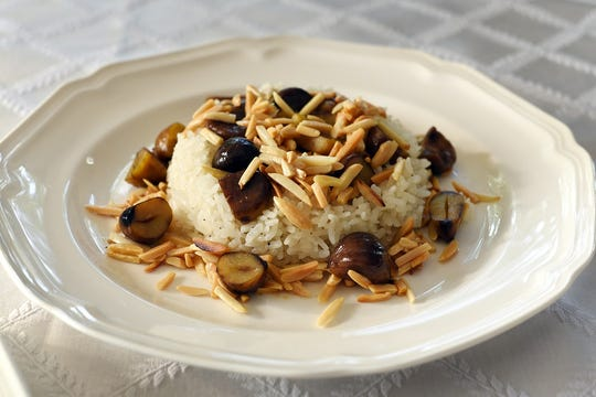 Islamic rice with almonds and chestnuts prepared by Aysin Copur.