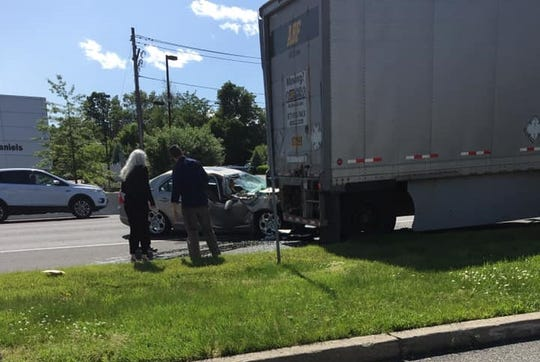 The driver of a car hit the back of a tractor-trailer on Route 17 in Upper Saddle River June 3, 2019.