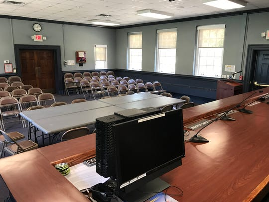 The view from the clerk's seat at West Milford town hall's dais is seen on June 3, 2019.