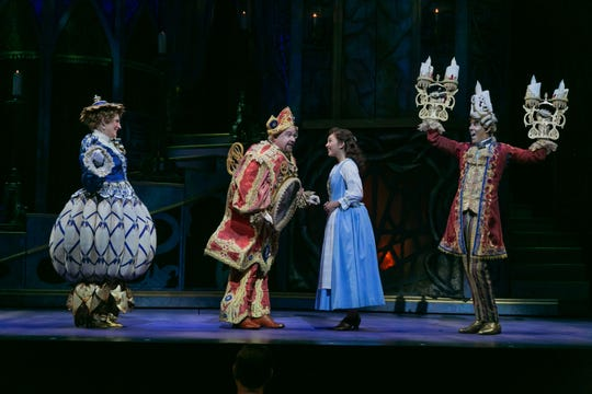 """Disney's Beauty and the Beast"": Stacia Fernandez  (Mrs. Potts), Kevin Ligon (Cogsworth), Belinda Allyn (Belle), and Gavin Lee (Lumiere)"