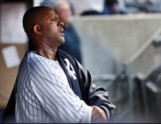 New York Yankees starting pitcher CC Sabathia waits in the dugout before the start of a baseball game against the Boston Red Sox, Sunday, June 2, 2019, in New York. Sabathia was the losing pitcher in the outing. (AP Photo/Kathy Willens)