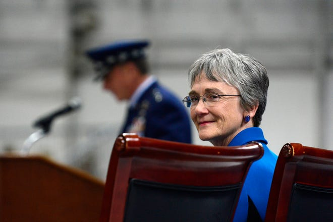 Secretary of the Air Force Heather Wilson listens as Air Force Chief of Staff Gen. David L. Goldfein gives his remarks during her farewell ceremony at Joint Base Andrews, Maryland, May, 21.