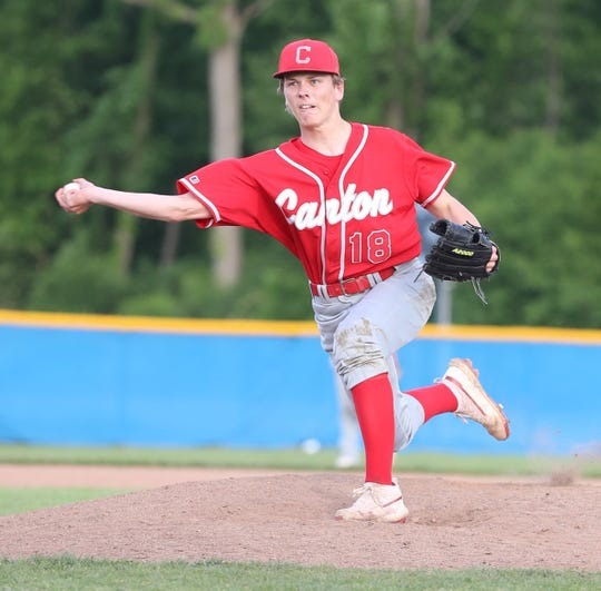 Canton's Jacob Rubis delivers a pitch during a game last season.