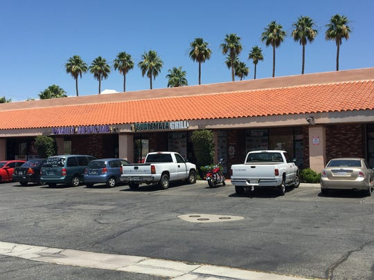 Cathedral City police say a suspect shot a woman outside Guatemala Grill using a gun he took from a security guard early Sunday. The suspect fled but was arrested miles away.