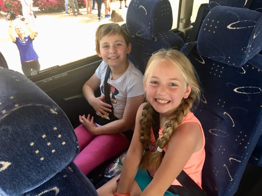 Isabella McCune and Symphony Windahl were the first ones on the bus, sliding into a seat together.