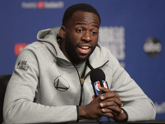 May 29, 2019; Toronto, Ontario, CAN; Golden State Warriors forward Draymond Green (23) answers questions  during a media conference for the NBA Finals at Scotiabank Arena. Mandatory Credit: Dan Hamilton-USA TODAY Sports