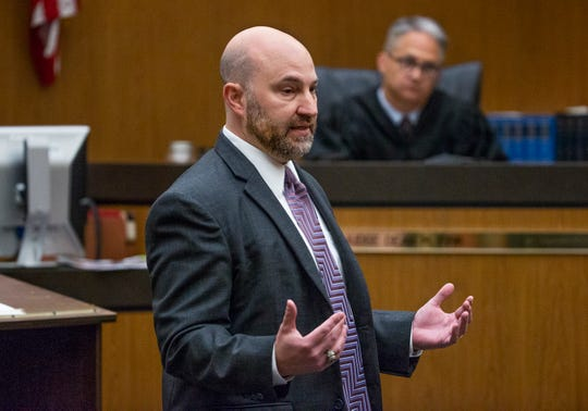 Defense attorney Jeffrey Kirchler makes his opening argument in the case against Avtar Grewal in Maricopa County Superior Court in Phoenix, Monday, June 3, 2019.  Grewal is accused of the first degree murder of his wife as well as burglary at their Ahwatukee home.