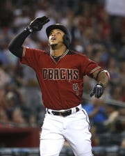 Diamondbacks' Ketel Marte (4) celebrates after hitting a home run against the Mets during the first inning at Chase Field in Phoenix, Ariz. on June 2, 2019.