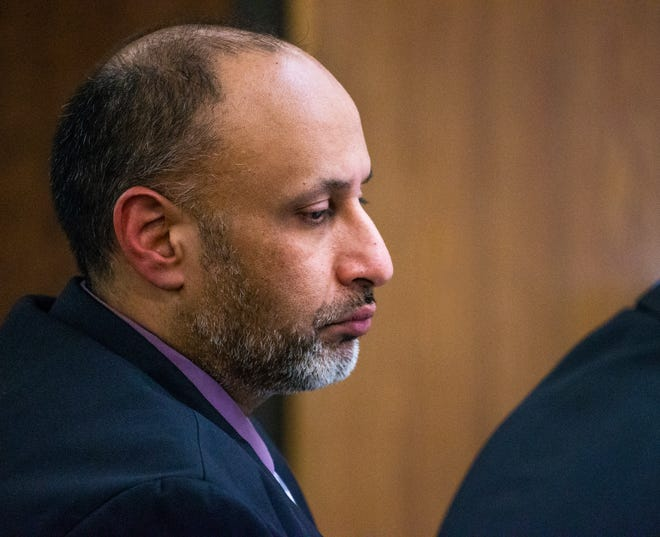 Avtar Grewal listens to the opening argument by Maricopa County prosecutor Juan Martinez in Maricopa County Superior Court in Phoenix, Monday, June 3, 2019.  Grewal is accused of the first degree murder of his wife as well as burglary.