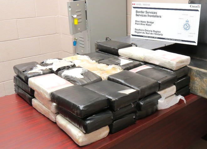 Canadian officials announced Monday more than 128 pounds of suspected cocaine was seized on the Blue Water Bridge May 24.