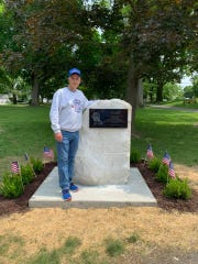 Mark Sanfilippo stands next to the monument for his father, Pete Sanfilippo, that was dedicated at Mesier Park June 1.