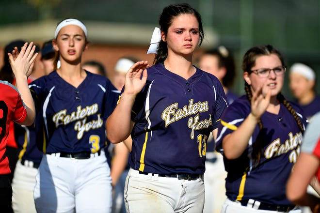 Eastern York pitcher Maelynn Leber, a junior, sees her season come to an end after the Golden Knights lose to Honesdale in the PIAA Class 4-A first-round state softball playoff game, Monday, June 3, 2019.John A. Pavoncello photo