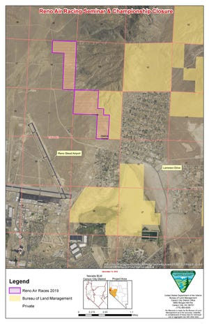 A map showing closed BLM land near the Reno Stead Airport. The closure is set for June 5 to June 9.