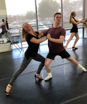 """Georgia Wright and Carson Ford practicing Tango for SNB's """"Twelfth Night - A Ballet Noir."""""""