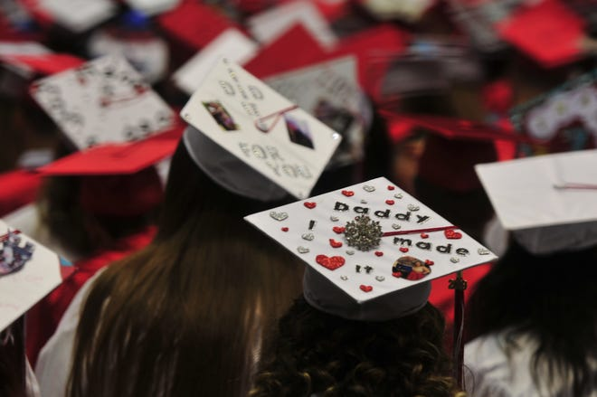 Richmond High School graduates with decorated caps are pictured from 2019. The ceremony for 2020 was much different than usual, and this spring's will be closer to normal, but with added precautions because of the pandemic.