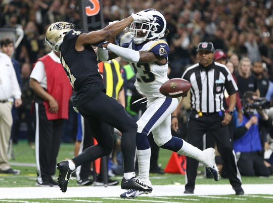 Los Angeles Rams defensive back Nickell Robey-Coleman was erroneously not called for pass interference on this play in the NFC Championship Game.