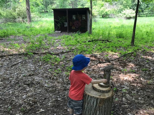 Reporter Victoria Freile's son Joe, 2, checks out a fairy house while hiking in Mendon Ponds Park on June 1, 2019.